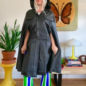 Vintage 70s black leather hooded poncho cape OS